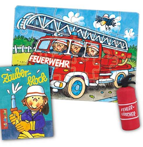 KSS Kinder Feuerwehr Puzzle 24 Teilig + Zauberblock + Radiergummi im Feuerlöscherdesign Kinderpuzzle