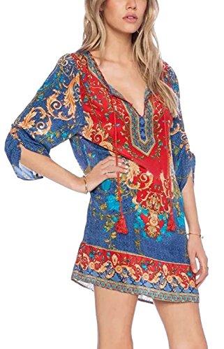 Summer Mae Damen Langarmshirt Blusenkleid Chiffion Bohemien Vintage Tunika Minikleid Rundhals