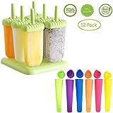 Hmjunboys Eis am Stiel 12 Eisformen Stück Formen Einstellen Eislutscher Hersteller für Kinder und Erwachsene Eisformen Silikon BPA Frei