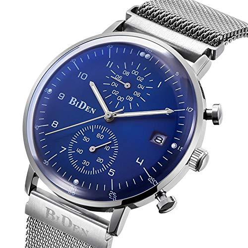 Armbanduhren,Kalender Ultradünne Quarzuhr Mode Digital Disc Sportuhr Blau Und Silber Armbanduhren für Herren - Co Disc