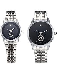 hongboom lujo banda de acero inoxidable reloj de pulsera Hombres Mujeres Casual analógico cuarzo Parejas reloj de pulsera 30m resistente al agua