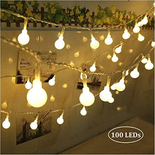 Qedertek 100 LED Kugel Lichterkette 10M, Strombetrieben Lichterkette mit Stecker für Innen und Außen, 8 Modi und Merk-Funktion Dimmbar mit Fernbedienung, ideale für Zimmer, Party, Weihnachts -