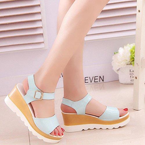 Transer® Damen Einfach Keilabsatz Sandalen PU-Leder+EVA Blau Schwarz Weiß Sandalen Gr.35-40 Blau