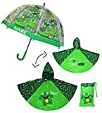 Unbekannt 3 tlg. Set: Regenschirm + Regenponcho / Regencape - Frosch - Incl. Namen - Gr...