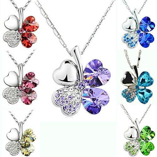Merdia Four Leaf Clover in Herzform Halskette Anhänger in Kristall 16