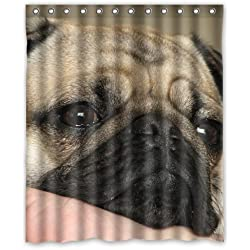 Pug dog nose face yellow white black puppy Shower Curtain 60 x 72 Inch Bathroom