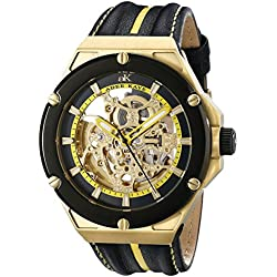 Adee Kaye Men's AK2240-MG/YW Le Gear Analog Display Automatic Self Wind Yellow Watch