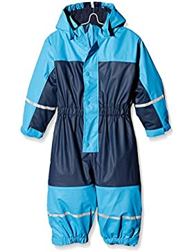 Playshoes Baby-Jungen Regenjacke Wasserdichter Regen-Overall, Regenanzug mit Fleece-Futter, Reflektoren
