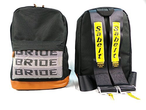 Bride JDM Racing Backpack Racing Harness Shoulder Straps Zipper Pockets w Padded Computer Compartment (Sabelt Black Straps) by FatCatRacingProducts