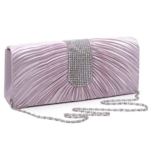 LOSORN ZPY Damen Topmodische Partytasche Abendtasche Handtasche mit Strass Hochzeit Party Clutch viele Farbe Rosa