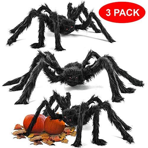 The Twiddlers 3 Arañas Grandes Espantosas - 75cm de Diametro, Flexibles - Perfectars para Fiestas de Halloween Accesorio, Decoración Tenebrosa y Divertida