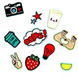 #2: Segolike 10 Pieces DIY Embroidered Sew Iron on Patches Gesture Star Camera Strawberry Applique Decorations