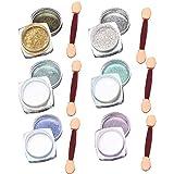 Beetest-6Pcs 1G Nagel Kunst Glitter Nail Chrome Pigment-Puder mit 6Pcs Sponge-Stick Spiegel Art
