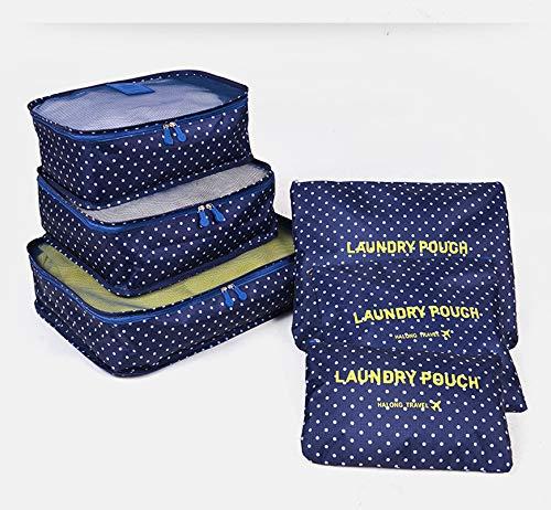 Electronic Pocket Organizer (6 STÜCKE Verpackung Würfel Wert Set für Reisegepäck Organizer Bag Compression Pouches Kleidung Koffer, Multicolor Marine)
