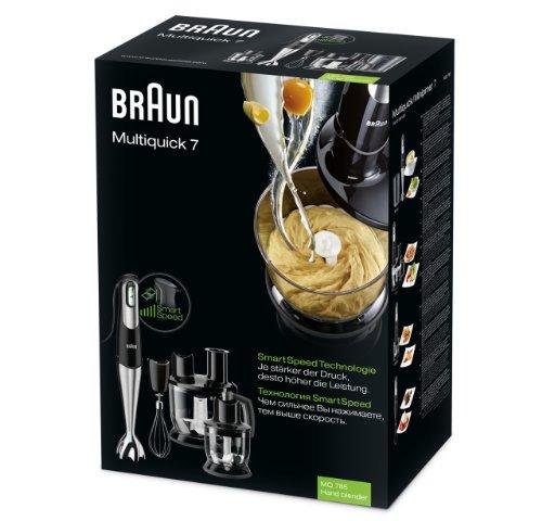 Braun MQ 785 Patisserie Plus Batidora con accesorios 750 W, 1 Liter, 1 Decibeles, Plástico, Plata y Negro