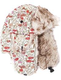 Accessoryo - Chapeau Coloré Blanc Et Rouge Motif Floral Trappeur Avec Bordure En Fourrure, Oreillettes Faux, Clip 58cm De Taille