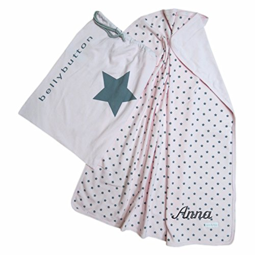 Preisvergleich Produktbild bellybutton Jersey Babydecke mit Ihrem Wunsch Namen bestickt und Wäschesack - Sternchen (rosa (cradle pink))