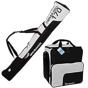 Brubaker Kombi Set Skisack und Skischuhtasche für 1 Paar Ski 170 cm und 190 cm + Stöcke + Schuhe + Helm Schwarz Silber