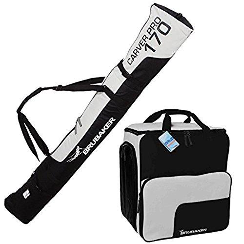 BRUBAKER Sac à chaussures de ski 'Super Function' et Housse à skis 'Carver Pro' pour 1 Paire de skis + Bâtons + Chaussures + Casque - 190 cm - Noir / Argenté