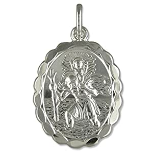 Sterling Silver Oval Double Sided St Christopher Pendant On A 16 Inch Snake Necklace