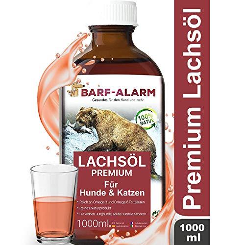barf-alarm Premium Lachsöl für Hunde 1 Liter mit Omega 3 und Omega 6 Fettsäuren - Fischöl für den Hund & Katze - Barf Lachs für Welpen Adulte Senioren, Katzen & Sporthunde