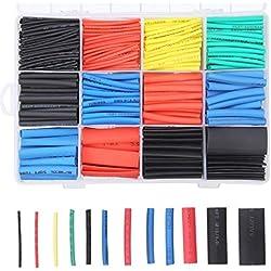 Tubo Termorretráctil 750 Piezas,Preciva 2: 1 Poliolefina Tubo Termoretráctil Envoltura de Alambre 6 Color 12 Tamaño para Protección el cable,Prevenir la corrosión del metal,etc