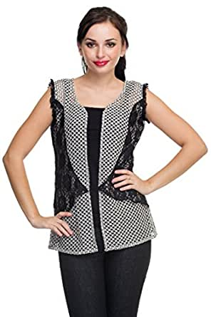 Ethnic Route Black Net Jacket for Women (Size: X-Large)