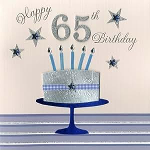 Second Nature Carte d'anniversaire 65ans faite à la main Motif gâteau et bougies
