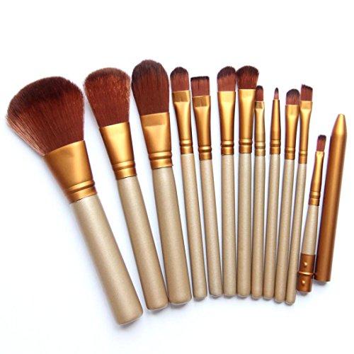 Susenstone Pinceaux de Maquillage Pro 12pcs définie avec l'outil Pinceau Lèvres Poudre Fondation Eyeliner fard à Paupières, Golden
