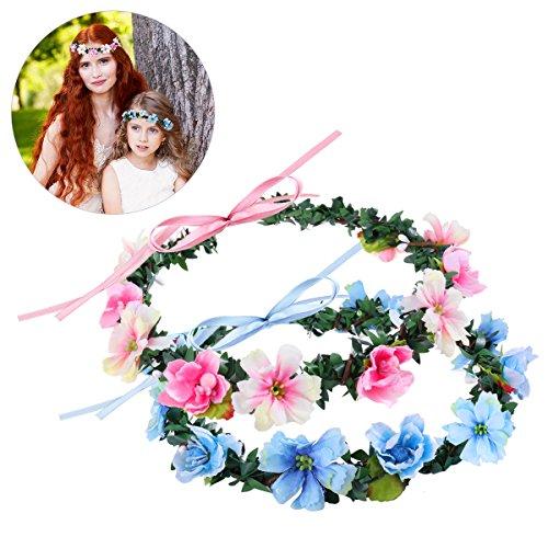 Frcolor Blumenkranz Blumen Stirnband Blau Rosa Blumenkrone Stirnband Hochzeit Blumen Haarband für Damen Mädchen, 2 Stück