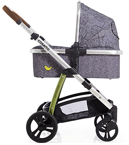 Cosatto Wow 3 in 1 isize Travel System Dawn Chorus with Dock car seat Bag footmuff & Raincover Cosatto Includes: Chassis,Carrycot,Seat unit,Dock isize Car seat,Car seat adapters,Footmuff,Change bag, Raincover & 4 Year guarantee(UK and Ireland only) Compact fold Telescopic, leatherette handle and Handy one-handed recline. One-hand release carrycot, One-hand adjustable leg rest and Super-sized basket with handy compartments 2