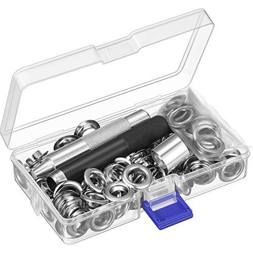 Grommet Werkzeug Kit, Grommet Einstell Werkzeug und 100 Sets Grommet Ösen mit Aufbewahrungsbox (1/ 2 Zoll Innen Durchmesser) - Kit-werkzeug-kit