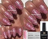 Bluesky BLZ44 Glitzer-Gel-Nagellack UV/LED-Lack Soak-Off-Gel-Lack,10ml inkl. 2Homebeautyforyou-Glanztüchern, Farbton: Baby Pink Blossom