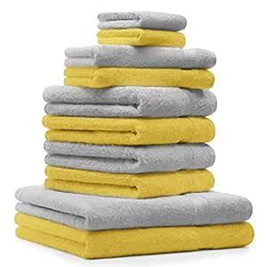 10 tlg. Handtuch Set Premium Farbe Silber Grau & Gelb 100% Baumwolle 2 Duschtücher 4 Handtücher 2 Gästetücher 2 Waschhandschuhe