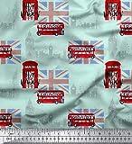 Soimoi Grun Baumwolle Ente Stoff London Thema