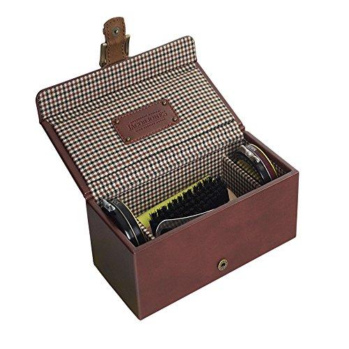JACOB JONES Tan Shoe Shine Kit with Brown Checker Cotton Lining
