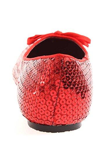Colorido Bailarina Verão Vermelho Sapatos Pailetten De Da 32704 Deslizador Senhoras Búfalo Sapatas RTtxaa