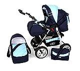 Clamaro 2 in 1 'VIP Volver' Kombi Kinderwagen mit Schwenkräder inkl. Babywanne und Sport Buggyaufsatz - Hartgummi Bereifung (Chrom) - 8. Dunkelblau / Hellblau
