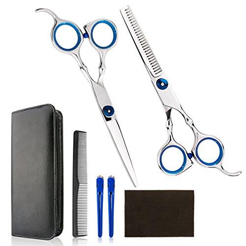 [Set Ciseaux Coiffure] Luxebell Set Ciseaux de Coiffure/Cisailles Coupe-Cheveux en Acier Inoxydable avec Peigne et Etui pour Hommes et Femmes