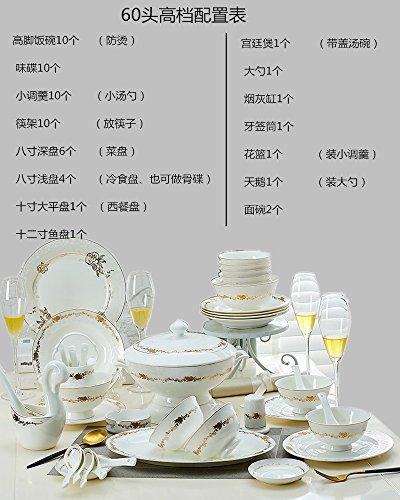 YUWANW Bone China Geschirr passt Geschirr Gericht Domestic einfachen Europäische Gerichte Suppe Löffel Jingdezhen Western Disk Schalen, 60, Bone China (Golden Rose) -