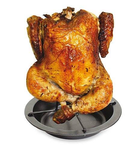 FACKELMANN Chicken Roaster with Bowl, Steel, Black, 17.5 x 17.5 x 19 cm