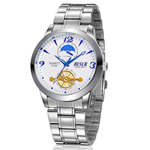 Unendlich U Fashion Business Herren Armbanduhr Weiß Zifferblatt Edelstahl Armband Wasserdicht Schwungrad Analog Quarz Uhr