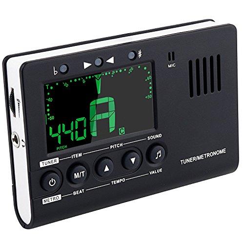 Mugig Metronom und Digital Stimmgerät/Tuner 3 in 1 Funktionen mit großem Klarem und Buntem LCD-Bildschirm