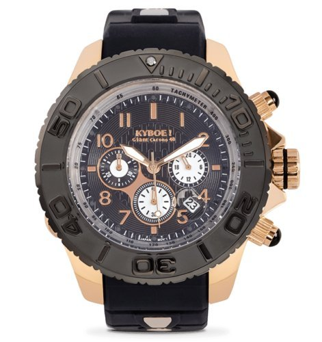 Kyboe! Chrono Rose Gold Men's Watch Analogue Quartz Rubber Black KYCRG-004-48