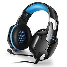 ICABLELINK KOTION EACH G1200 Gaming Headset 3,5 mm Spiel-Kopfhörer-Kopfhörer-Stirnband mit Mic Stereo Bass für PS4 PC Computer-Laptop-Mobiltelefone (rot und schwarz)