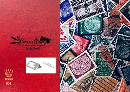 carve-stamp 150 Briefmarken deutsches Reich - inklusive hochwertigem Briefmarkenalbum A6 rot Lupe Pinzette - Briefmarken für Sammler