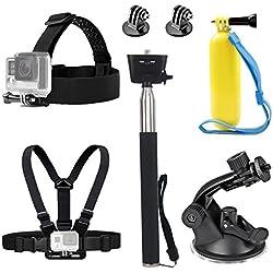 tekcam acción cámara Cabeza correa Arnés de pecho Cinturón Mount selfie stick flotante Handle Grip Soporte de ventosa accesorios para GoPro Hero 6Crosstour 4K victure bajo el agua cámara