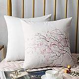 Bedding Fundas de Almohada ,Rosa claro, Artístico Rama de Sakura con flores de cerezo Tiernas japonesas Decorativas de priAlmohada cómodo Sofá rectángulo Funda de Cojín Decoración para El Hogar45x45cm