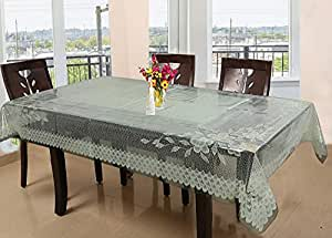 Kuber Industries Floral PVC 6 Seater Dining Table Cover - Cream