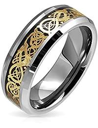 Bling Jewelry Anillo de Hombre Tungsteno Dragón Celta Negro Etampado Oro Anillo de Boda 8 mm